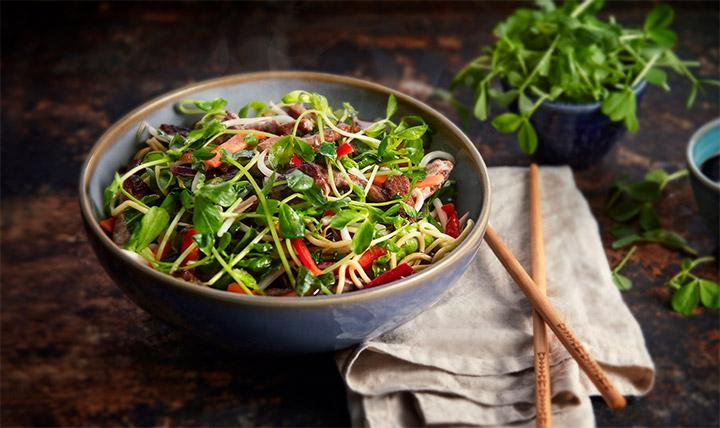 Beef and pea shoots stir fry
