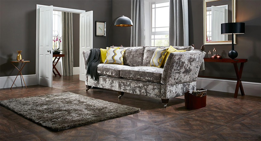 Spink& Edgar Sofa With Yellow Cushions