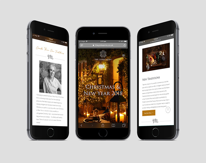 The Yorke Arms mobile website