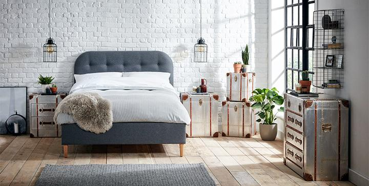 Grey bed wooden floor roomset photography