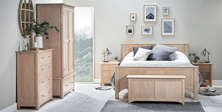Natural wood bedroom roomset photography